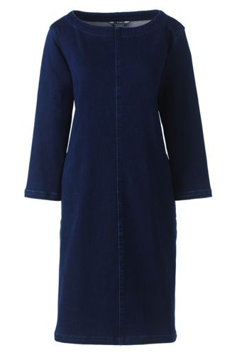 Women's Petite Soft Denim Popover Dress