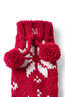 Women's Hand Knit Christmas Slipper Socks, alternative image