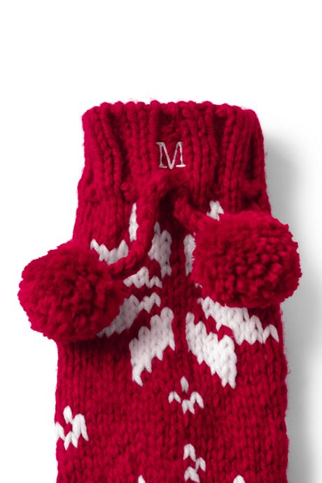 Women's Hand Knit Christmas Slipper Socks
