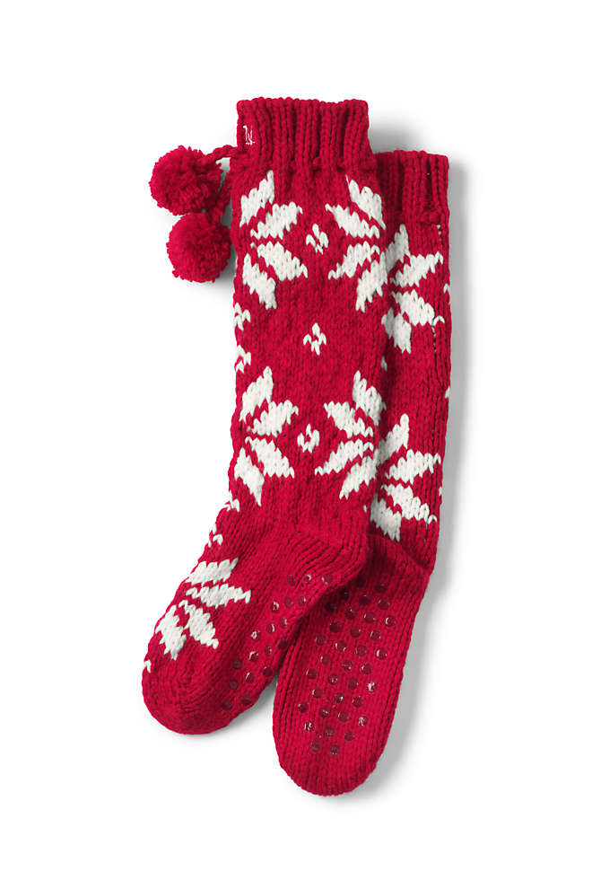 Women's Hand Knit Christmas Slipper Socks, Front