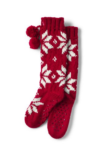 Women's Hand-knitted Patterned Slipper Socks