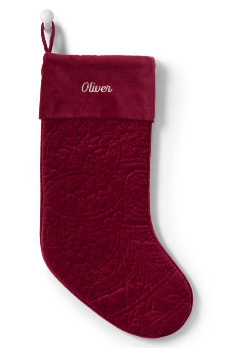 Velvet Medallion Personalized Christmas Stocking