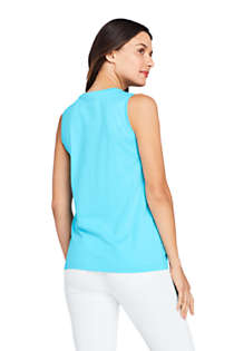 Women's Petite Supima Cotton Crew Neck Tank Top, Back