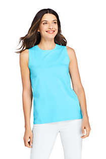 Women's Petite Supima Cotton Crew Neck Tank Top, Front