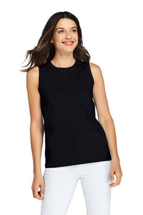 Women's Petite Supima Cotton Crew Neck Tank