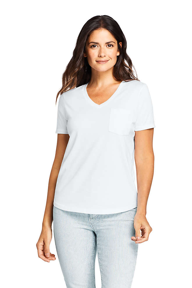 Women's Supima Cotton Pocket V-neck Short Sleeve T-shirt, Front