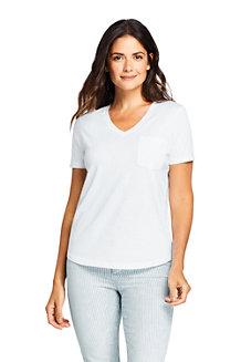 Supima-Shirt mit V-Ausschnitt und Brusttasche für Damen