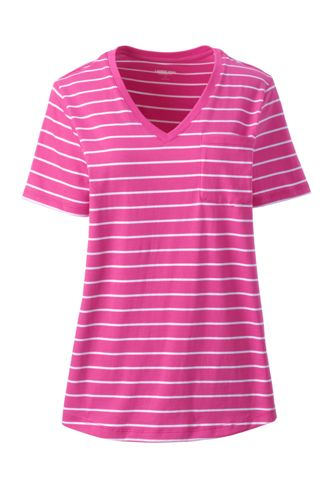 Women's Short Sleeved V-Neck Supima Tee with Pocket
