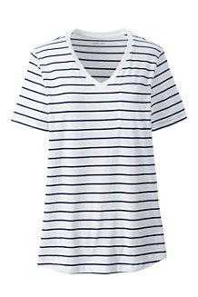 T-Shirt en Coton Supima Col V Poche Poitrine, Femme