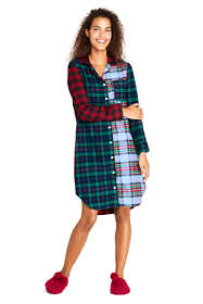 Women's Long Sleeve Print Flannel Nightshirt