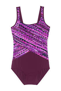 Women's Plus Size DD-Cup Chlorine Resistant Scoop Neck Soft Cup Tugless One Piece Swimsuit Print, Front