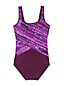 Women's Chlorine Resistant Tugless Mastectomy Swimsuit, Splice Print