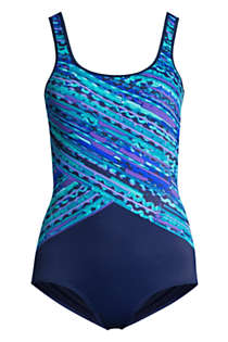 Women's D-Cup Chlorine Resistant Scoop Neck Soft Cup Tugless Sporty One Piece Swimsuit Print, Front