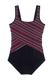 Women's Petite Chlorine Resistant Scoop Neck Soft Cup Tugless Sporty One Piece Swimsuit Print, Front