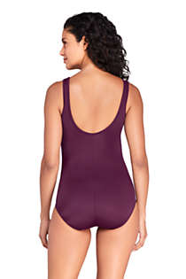 Women's Mastectomy Chlorine Resistant Scoop Neck Soft Cup Tugless Sporty One Piece Swimsuit Print, Back