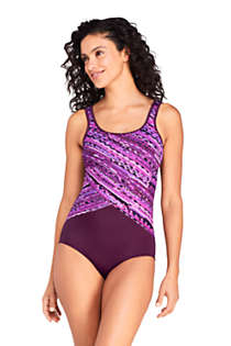 Women's Mastectomy Chlorine Resistant Scoop Neck Soft Cup Tugless Sporty One Piece Swimsuit Print, Front