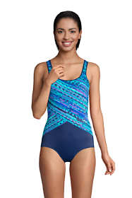 Women's Tummy Control Chlorine Resistant Scoop Neck Soft Cup Tugless Sporty One Piece Swimsuit Print