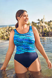 Women's Plus Size Chlorine Resistant Scoop Neck Soft Cup Tugless Sporty One Piece Swimsuit Print, alternative image
