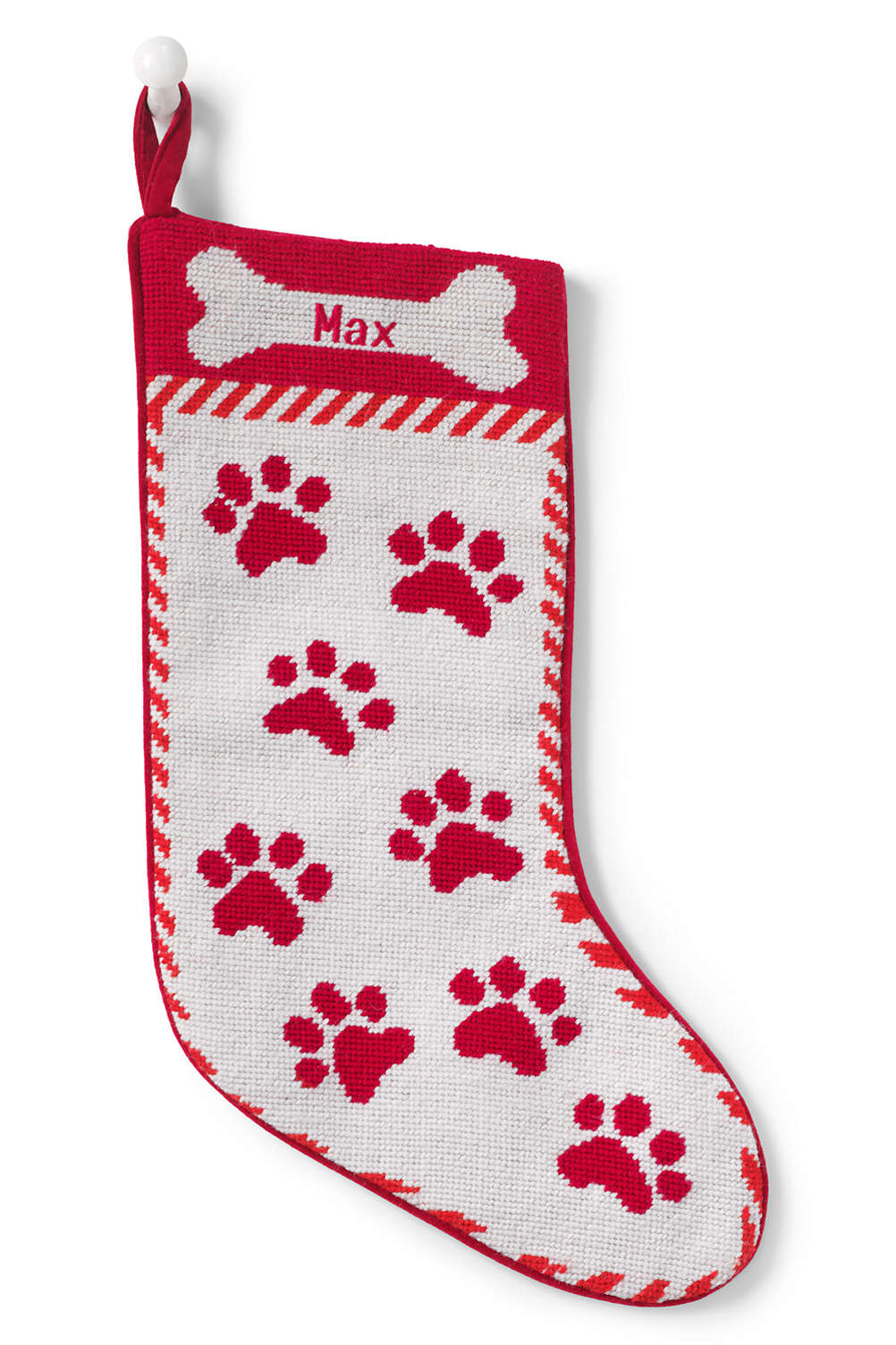 Lands End Christmas Stockings.Needlepoint Personalized Christmas Stocking For Pet