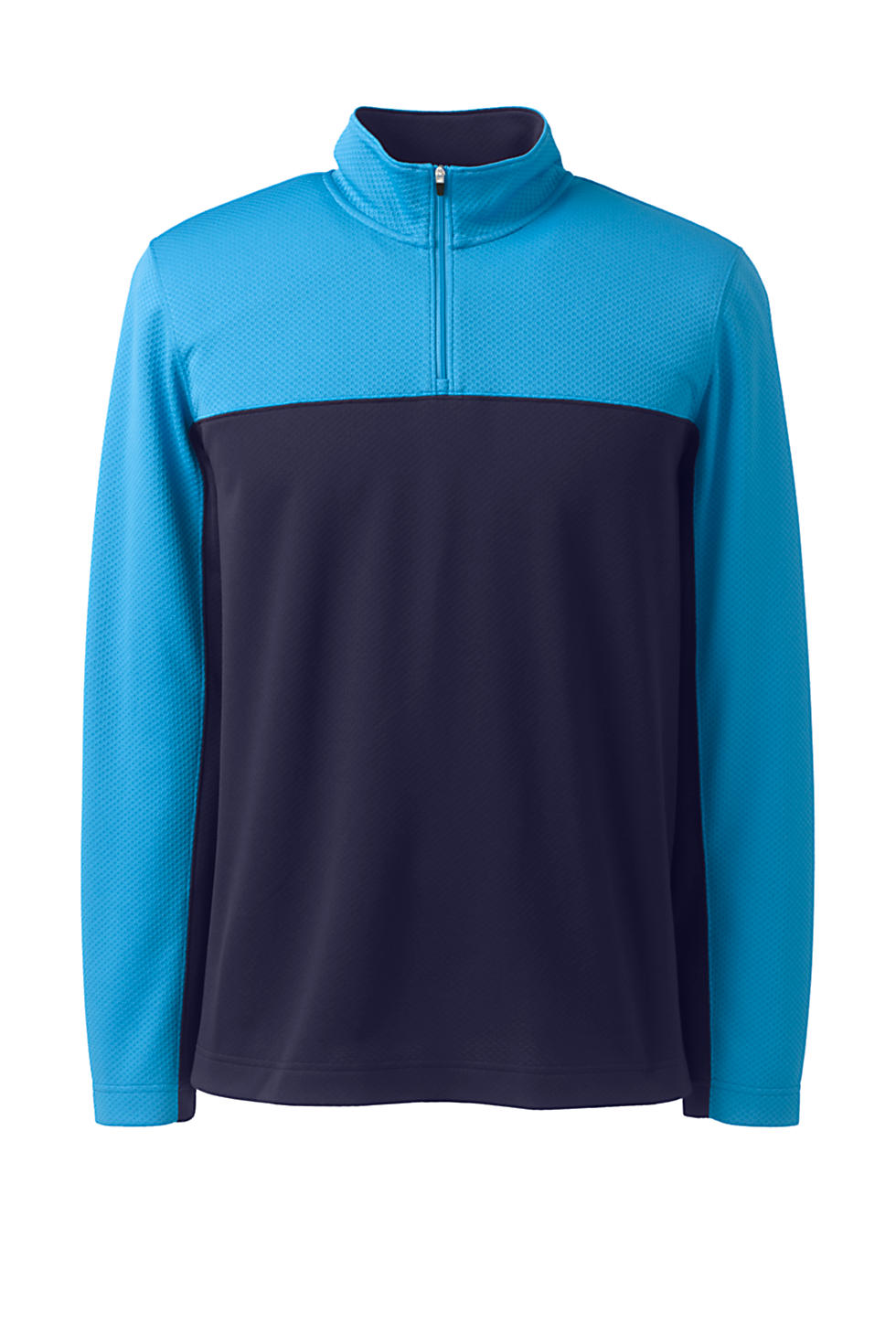 Lands End Mens Textured Colorblock Quarter Zip Pullover (True Navy)