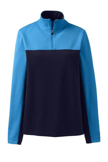 Women's Plus Size Textured Colorblock Quarter Zip Pullover