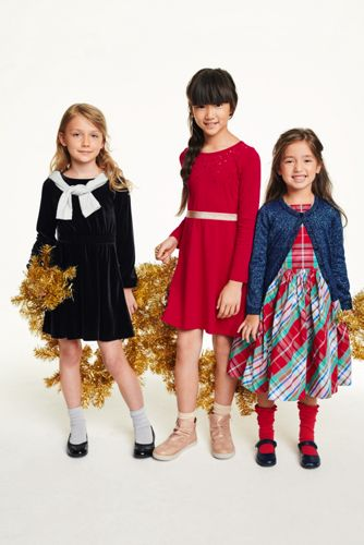 Girls Sequin Fit and Flare Dress