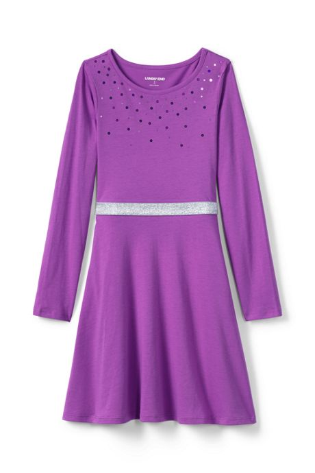Girls Plus Size Sequin Fit and Flare Dress