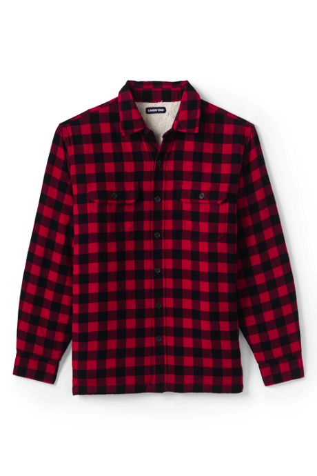 Men's Traditional Fit Sherpa Lined Flannel Shirt Jacket