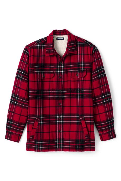 Men's Tall Traditional Fit Sherpa Lined Flannel Shirt Jacket