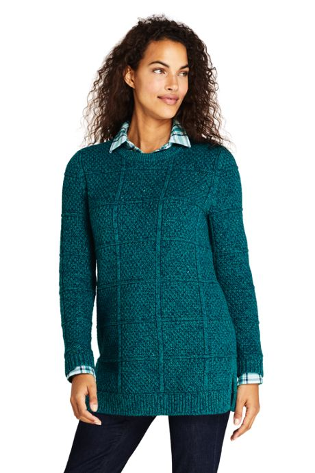 Women's Petite Cotton Blend Textured Cable Crewneck Tunic Sweater