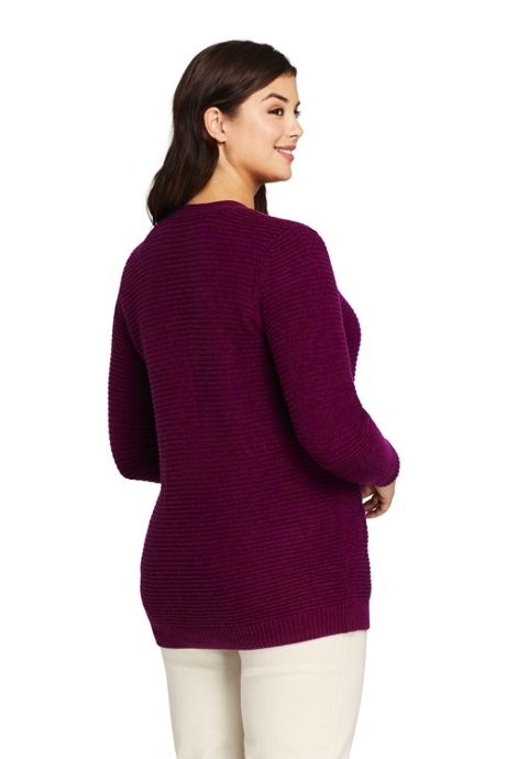 Women's Plus Size Cashmere V-neck Long Cardigan Sweater