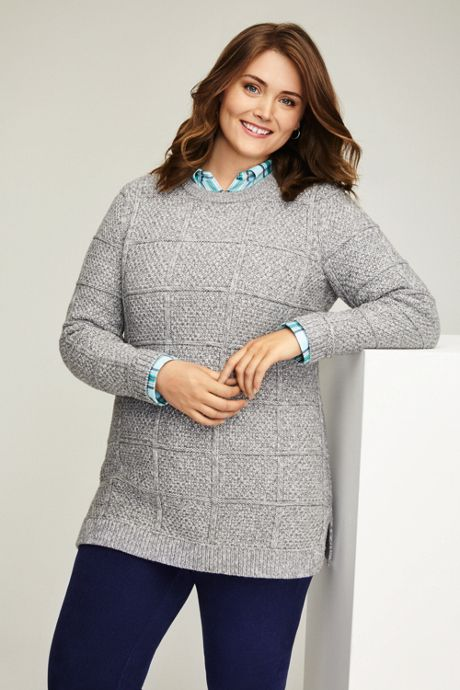 Women's Plus Size Cotton Blend Textured Cable Crewneck Tunic Sweater