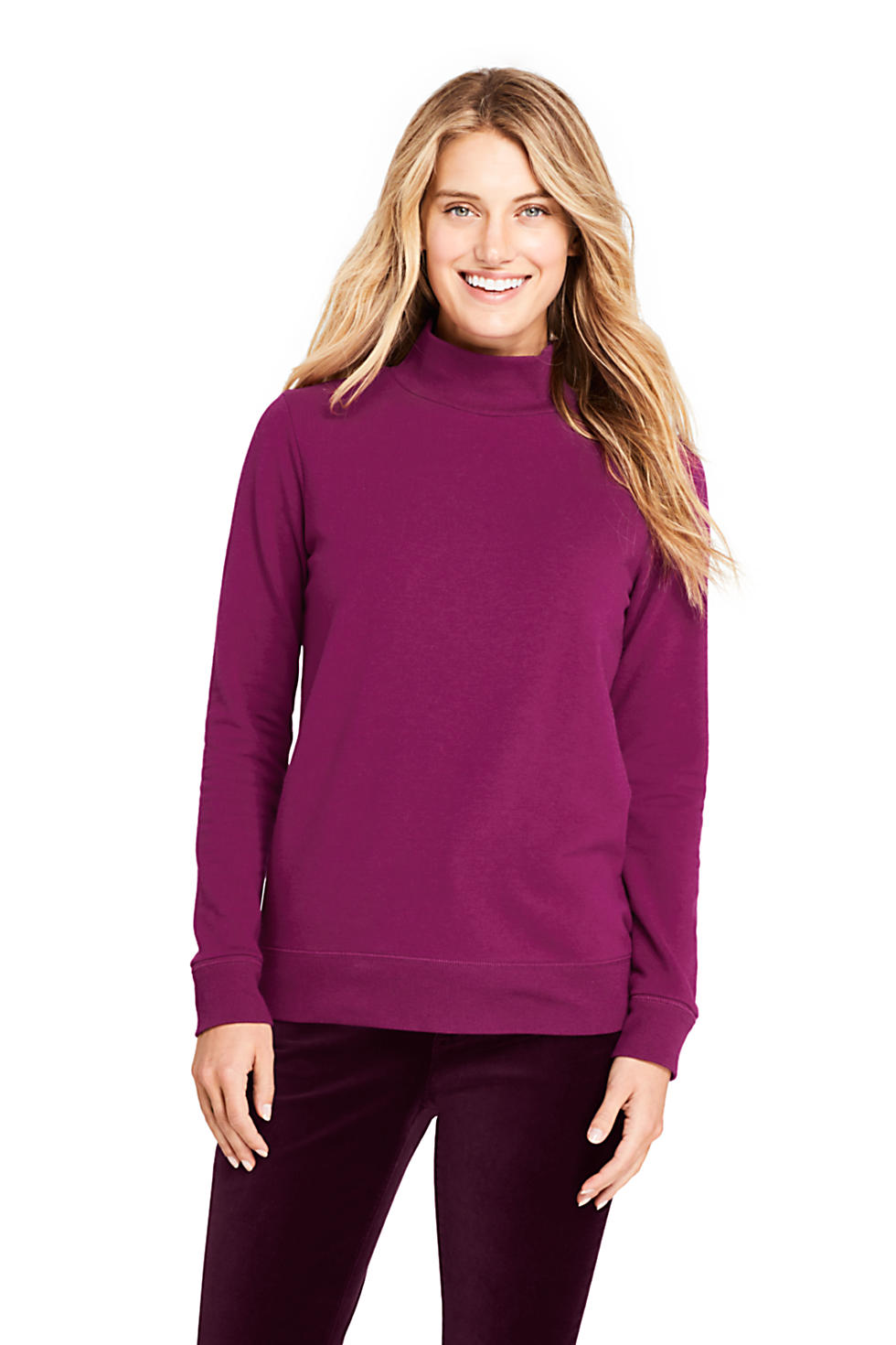 Lands End Womens Serious Sweats Turtleneck Long Sleeve Sweatshirt