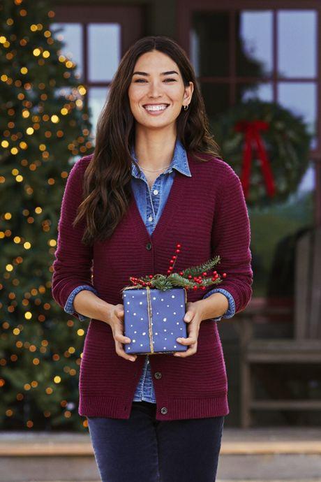 Women's Petite Cashmere V-neck Long Cardigan Sweater