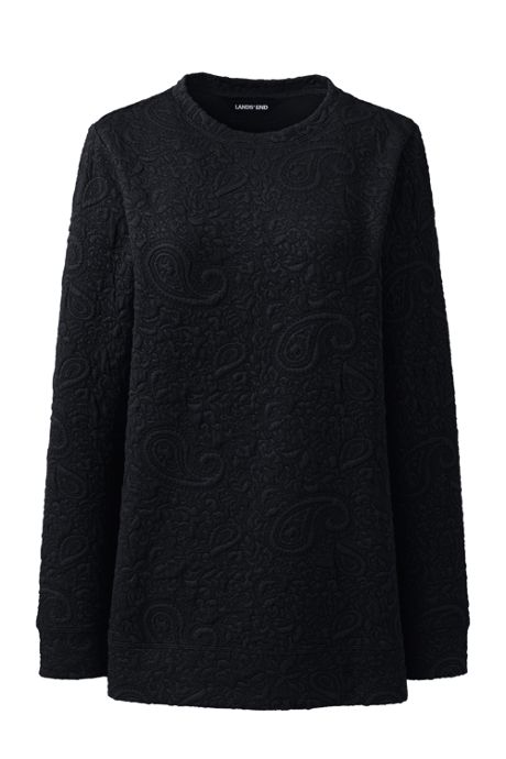 Women's Petite Textured Long Sleeve Sweatshirt Tunic