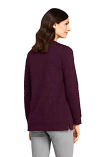 Women's Petite Textured Long Sleeve Sweatshirt Tunic, Back