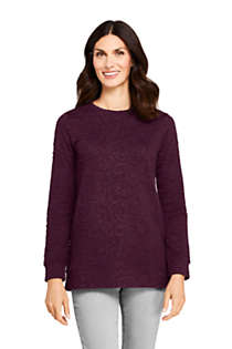 Women's Petite Textured Long Sleeve Sweatshirt Tunic, Front