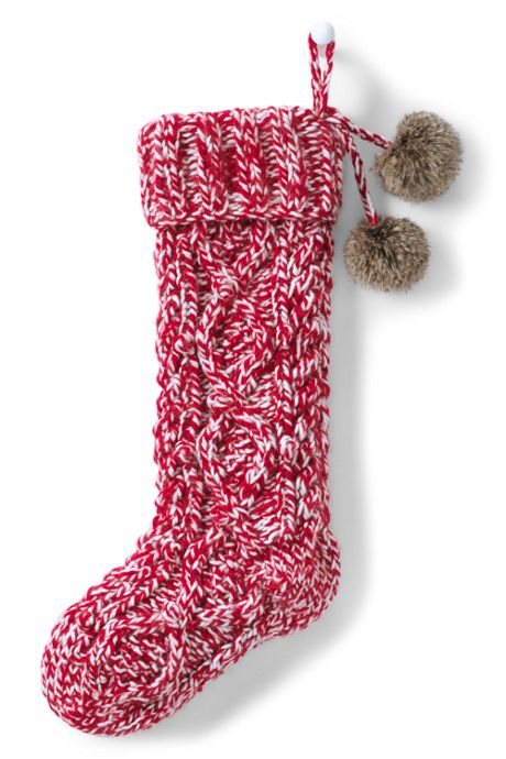 Cable Knit Pom Personalized Christmas Stocking