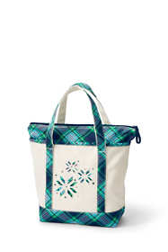 Christmas Embroidered Medium Zip Top Canvas Tote Bag