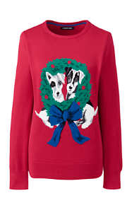 Women's Plus Size Cotton Christmas Crewneck Sweater