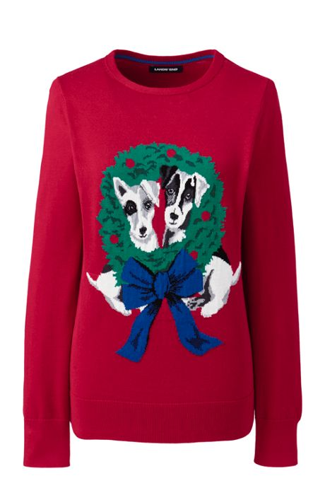 Women's Cotton Christmas Crewneck Sweater