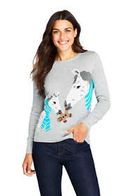 Women's Petite Cotton Christmas Crewneck Sweater