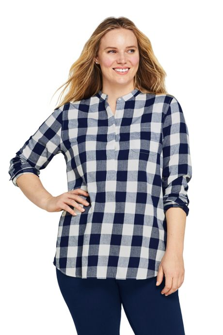 Women's Plus Size Popover Flannel Tunic Top