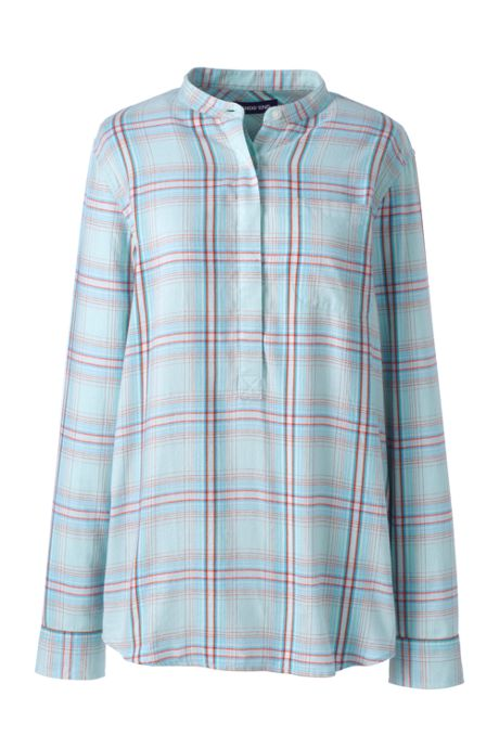 Women's Popover Flannel Tunic Top