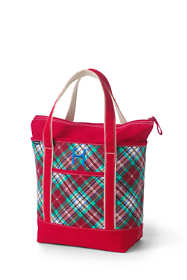 Christmas Print Medium Zip Top Canvas Tote Bag