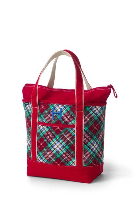Christmas Print Medium Zip Top Canvas Tote Bag