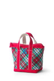 Christmas Print Small Zip Top Canvas Tote Bag
