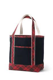 Christmas Print Medium Open Top Canvas Tote Bag