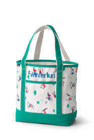 Christmas Print Medium Open Top Canvas Tote Bag