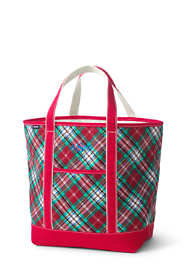 Christmas Print Large Open Top Canvas Tote Bag
